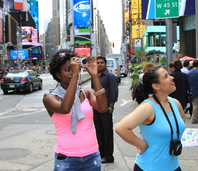 Taking photos in Times Square, NYC